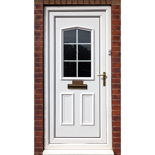 Upc doors white knight upvc triple glazed back door with for Upvc french doors bristol