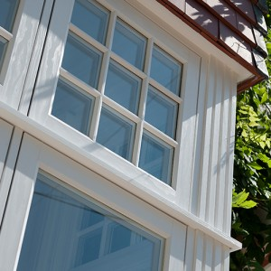 Bay UPVC window close up
