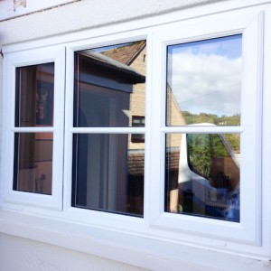 UPVC white windows on stone building 2