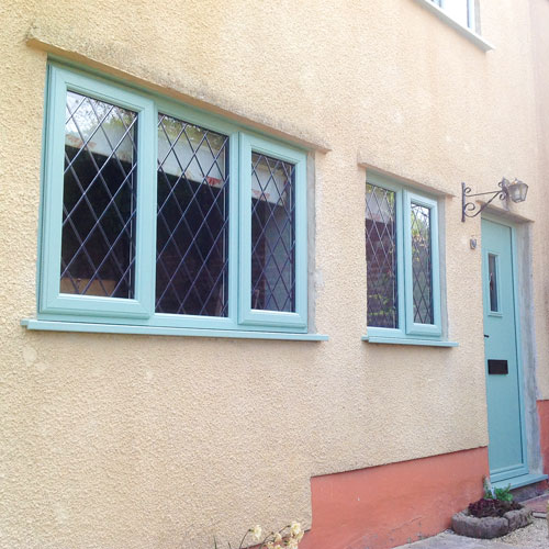 blue windows and door